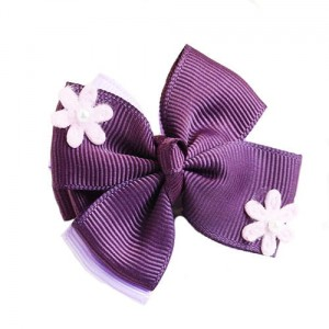 Fashion Purple Flower Decorated Bowknot