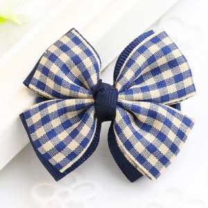 Fashion Navy Grid Pattern Decorated Bowknot
