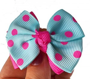 Fashion Light Blue Grid Pattern Decorated Bowknot