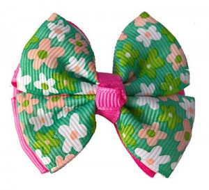 Fashion Green Flower Pattern Decorated Bowknot